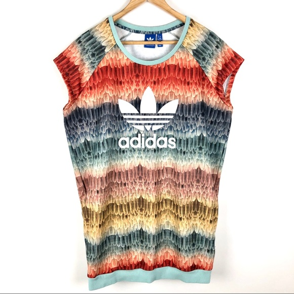 Adidas Originals X Farm Feather T-Shirt Dress